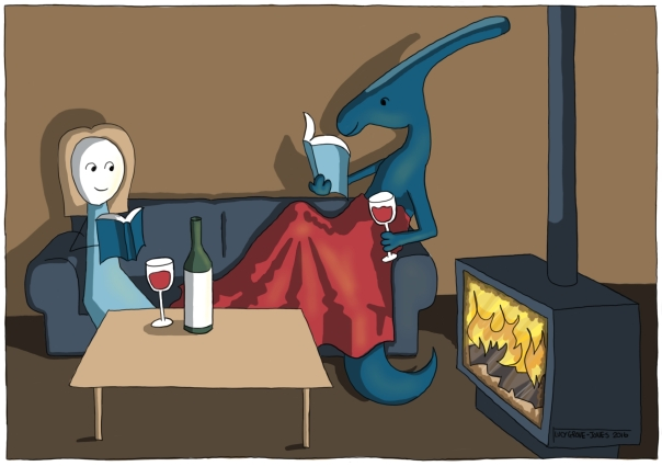kate parasaurolophus reading with red wine