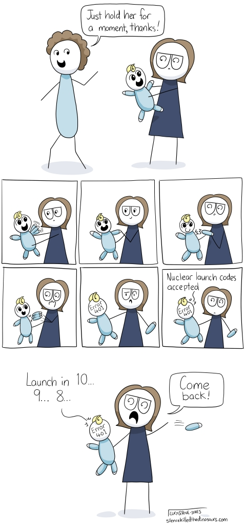 Comic strip featuring me not at all keeping it together while holding a baby.