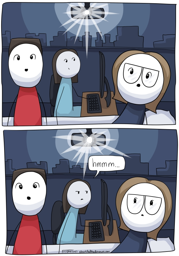 "Two panels in a darkened room with a projector aiming for the fourth wall. In the first panel, my partner look forward in awe while behind us the sonogrammer is at her computer. In the second panel, the sonogrammer looks concerned and says ""hmm."" I notice, my partner hasn't yet."