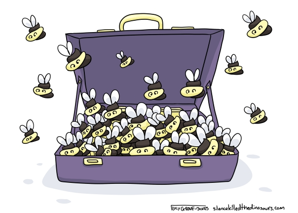 Literally a case of shit bees. An open suitcase filled with bees that look like the poop emoji.