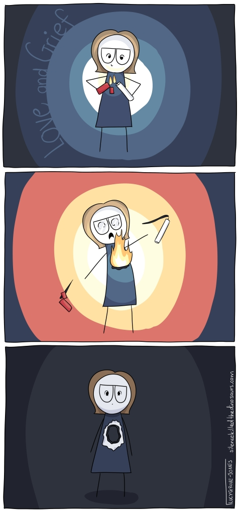 Three panels. First panel, I am standing in the dark lighting a candle in front of my chest. Second panel: my chest catches fire and burns brightly. Third panel: I stand alone in the dark with a hole burned straight through me.