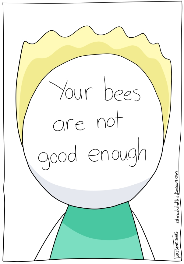 "Close up of the Actual Illustrators face. Instead of features, it has the words ""Your bees are not good enough"""
