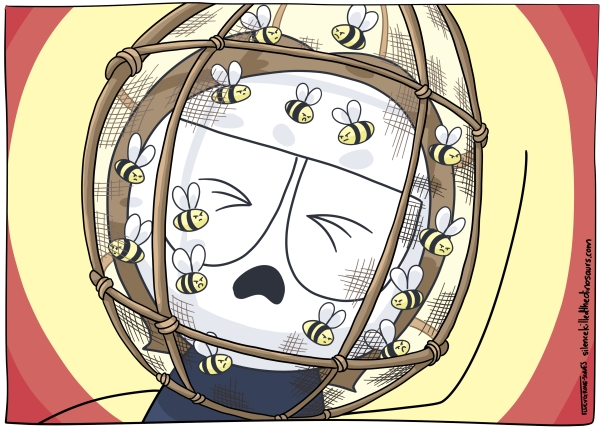 """Me, wearing a mesh hood-mask filled with bees. Like the """"NOT THE BEES!"""" Nick Cage scene."""