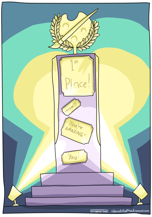 "A big, golden trophy, lit dramatically. Plaques on it read: ""1st place!"", ""wow!!!"", ""You're AMAZING!"" and ""Yay!"""