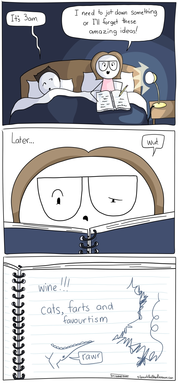 """Three panels. In the first it is night time. I am sitting up in bed. My husband, sleepy, says """"it's 3am"""" and I say """"I need to jot down something or I'll forget these amazing ideas!"""" The second panel is labled """"later"""" and I am looked at my notebook, confused. I say """"wut."""" The third panel shows what is written in the notebook: """"Wine!!!! cats, farts and favouritism"""" also there are scribbles and the drawing of a dinosaur's bum with """"rawr"""" coming out of it."""
