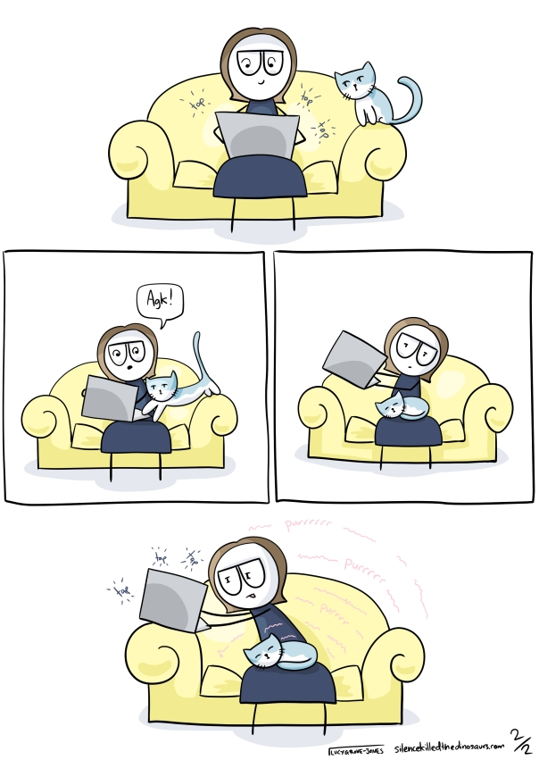 Four panels. Panel one, the cat sits on the couch arm watching me type. Panel two, the cat climbs onto my lap, forcing me to move my laptop. Panel three, I hold my laptop in the air, the cat is curled sleeping in my lap. Panel four, I lean awkwardly to type with my laptop on the couch arm while the cat purs happily in my lap.