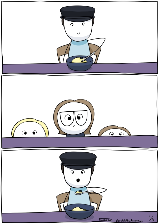 Panel 1: Dad at table. Liver is in bowl in front of him and he is scooping it with a spoon. Panel 2: three kids watch, concerned. Panel 3: Dad raises spoon and opens mouth