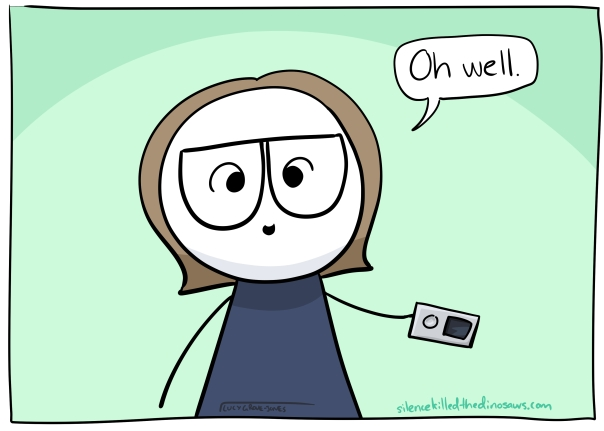 Cartoon-me holding silver ipod saying 'oh well'