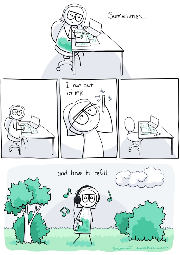 "I am working at my desk, writing with a green pen. There is also green in my body. Text says ""sometimes ..."". In the next panel I stop writing, the green is gone. I hold the pen up and tap it. Text says ""I run out of ink"". I am no longer at my desk. In the final panel I am walking on the green grass, listening to green music. The text says ""and have to refill"""