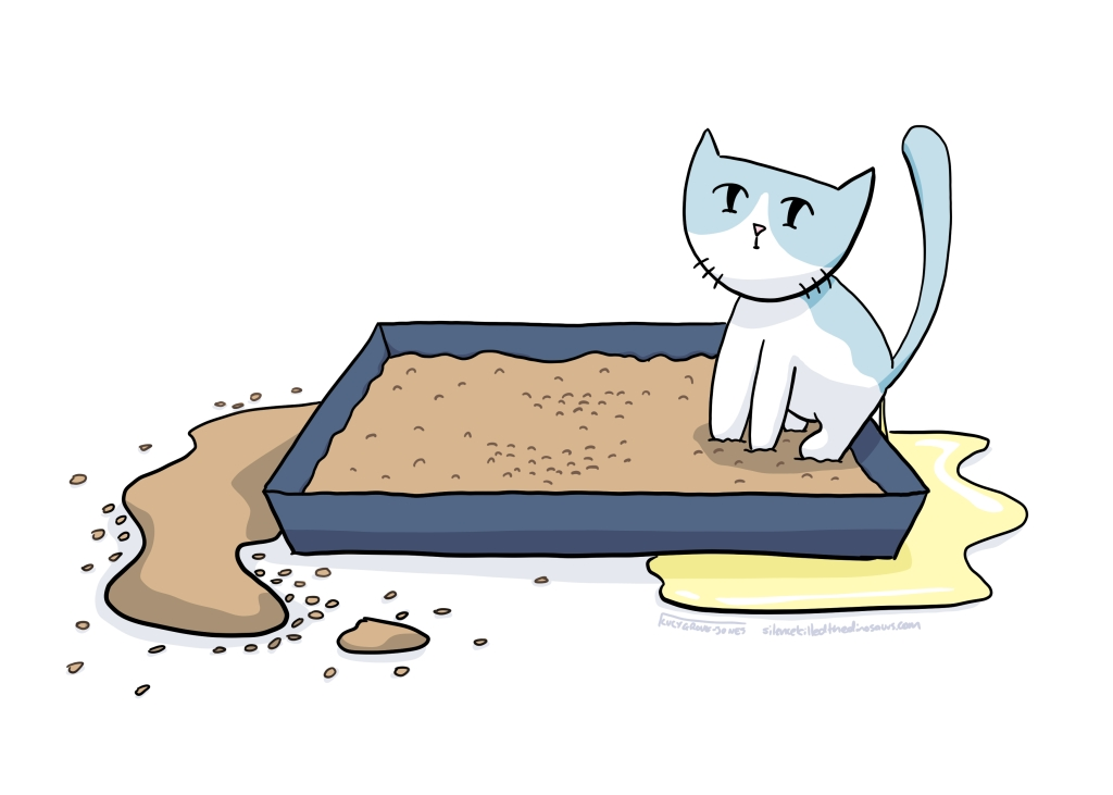 Cat sitting in litter box and peeing over the edge onto the floor.