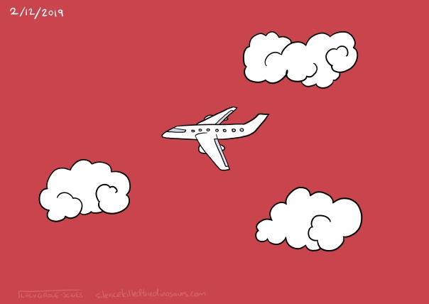 2/12/2019 A plane flies across a red sky.