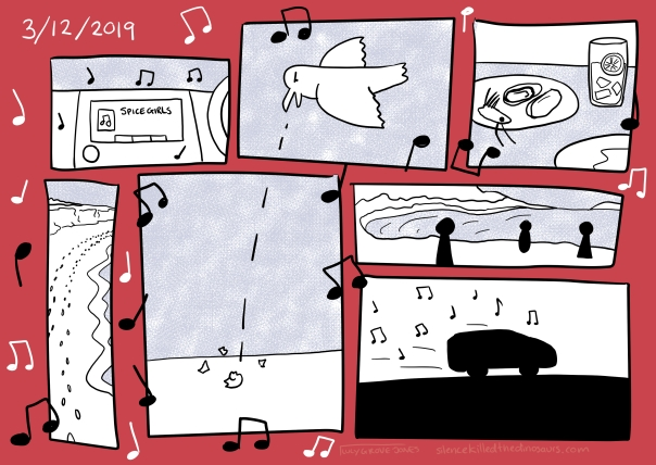 3/12/2019 A series of panels over a red background show a car stereo, musical notes, food, a bird dropping a shell to break it, a beach, and a car driving.