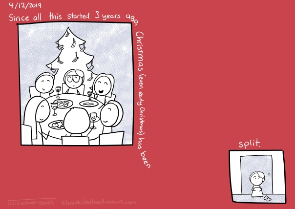 4/12/2019 (panel showing me and other happy people eating food in front of an xmas tree) Text: Since all this started 3 years ago Christmas (even early Christmas) has been ... (second, very small panel with me sitting alone in front of a closed door) Text: split