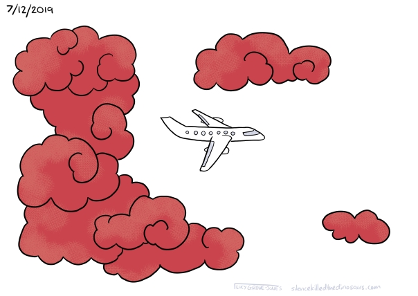 7/12/2019 A plane flies back across a white sky with some red clouds.