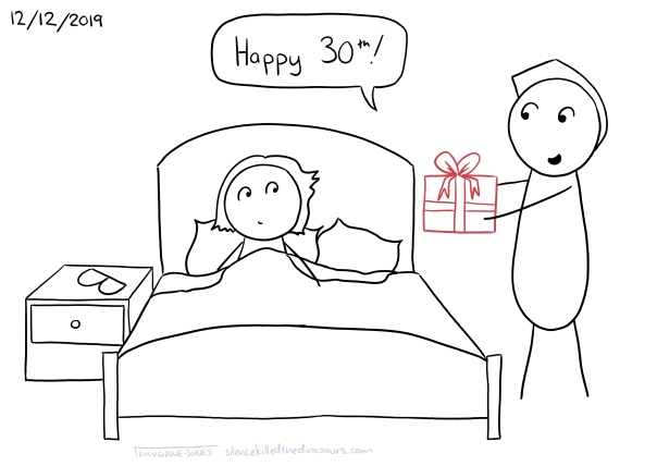 """12/12/2019 I am waking up in bed, my partner is standing holding a (red) present saying """"Happy 30th!"""""""