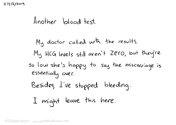 27/12/2019 Another blood test. My doctor called with the results. My HCG levels still aren't zero, but they're so low she's happy to say the miscarriage is essentially over. Besides, I've stopped bleeding. I might leave this here.