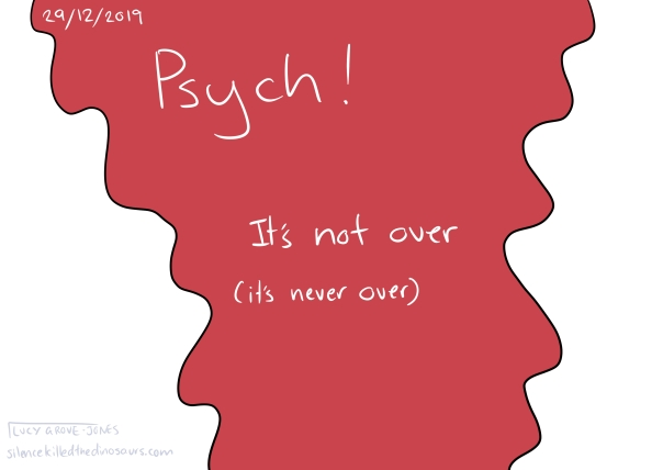 "29/12/2019 Red is pouring down the page. Text, white on red: ""Psych! It's not over (it's never over)."""