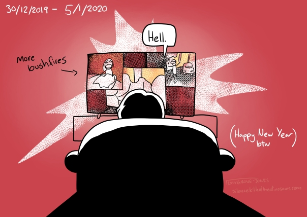 "30/12/2019 - 5/1/2020 Background red. I sit in front of the TV watching footage of more bushfires. I say ""Hell"". Text: ""(Happy New Year, btw)"""