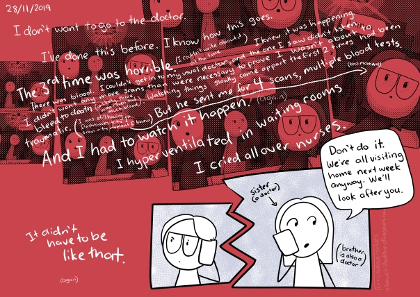 "8/11/2019 Background is red with repeated old comic from the 'expecting' story repeated in the background. Text: I don't want to go to the doctor. I've done this before. I know how this does. The 3rd time was horrible. (I couldn't write about it) I know it was happening. I didn't want any more scans than were necessary to prove I wasn't about to bleed to death (unlikely, there wasn't even that much blood). Watching things slowly come apart the first 2 times had been traumatic (I was still having flashbacks to the 1st scan—the moment I knew). But he sent be for 4 scans, multiple blood tests. And I had to watch it happen (again). I hyperventilated in waiting rooms. I cried all over nurses. It didn't have to be like that (again). Panels showing phone conversation with my sister (a doctor): ""don't do it. We're all visiting home next week anyway. We'll look after you."""