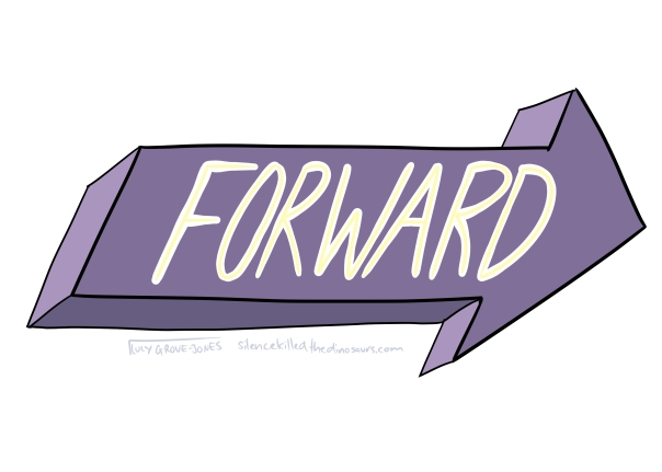 The word 'forward' in yellow letters on a big block arrow pointing forward