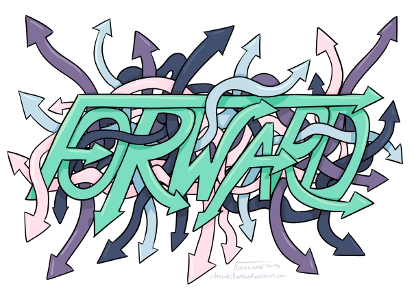 The word forward made out of arrows and surrounded by a tangle of arrows pointing in all different directions.