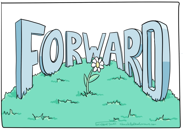 The word 'forward' arranged in a semi-circle around a flower.