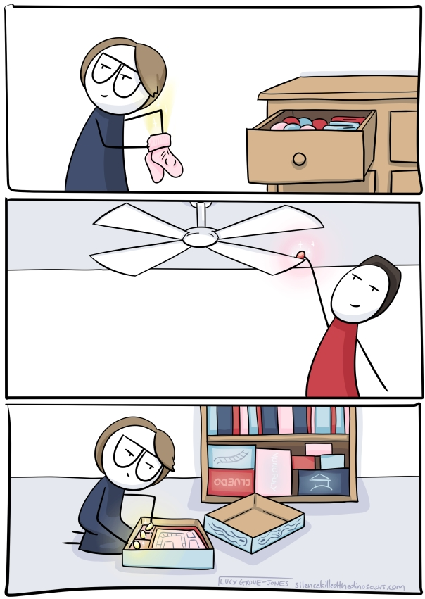 Panel 1: me hiding egg in socks. Panel 2: partner hiding egg on top of ceiling fan. Panel 3: me hiding egg in board game box