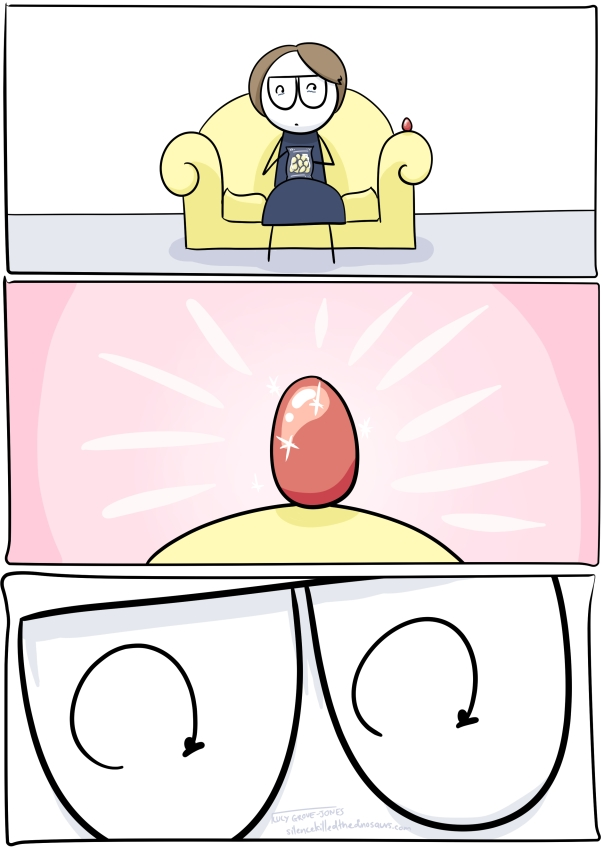 Panel 1: I sit on couch clutching bag of eggs. There is an egg on couch arm next to me. Panel 2: zoom in of egg on couch arm, sparkling. Panel 3: zoom in on my shocked eyes.