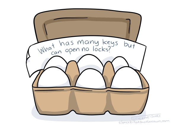 In a cartoon of eggs, a riddle says: 'What has many keys but can open no locks?'