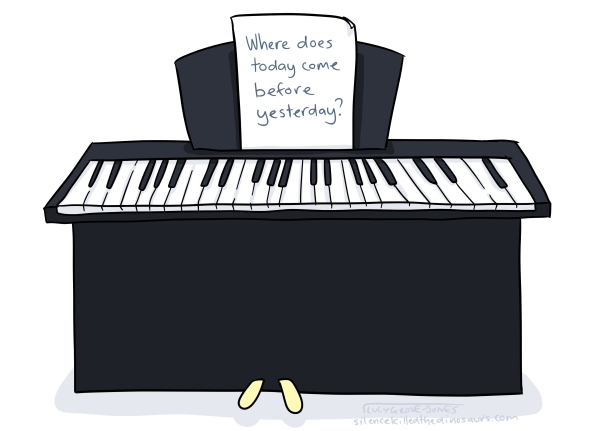 A piano. Instead of sheet music, a new riddle says: 'Where does today come before yesterday?'
