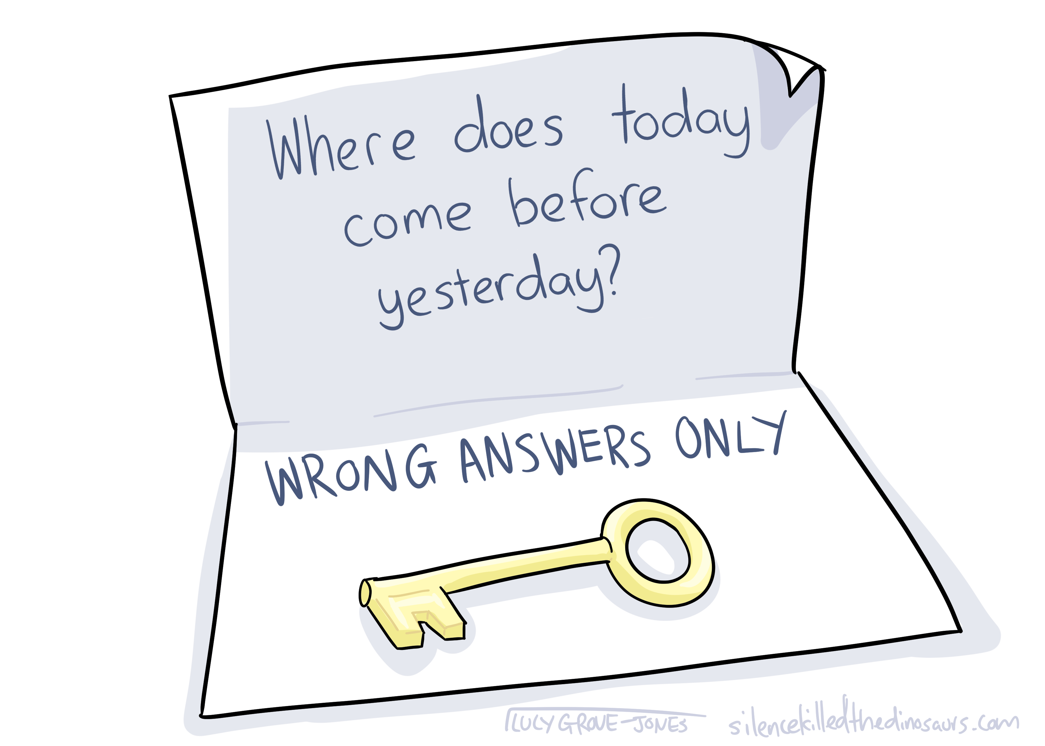 A note with a key. The note reads: Where does today come before yesterday? WRONG ANSWERS ONLY'