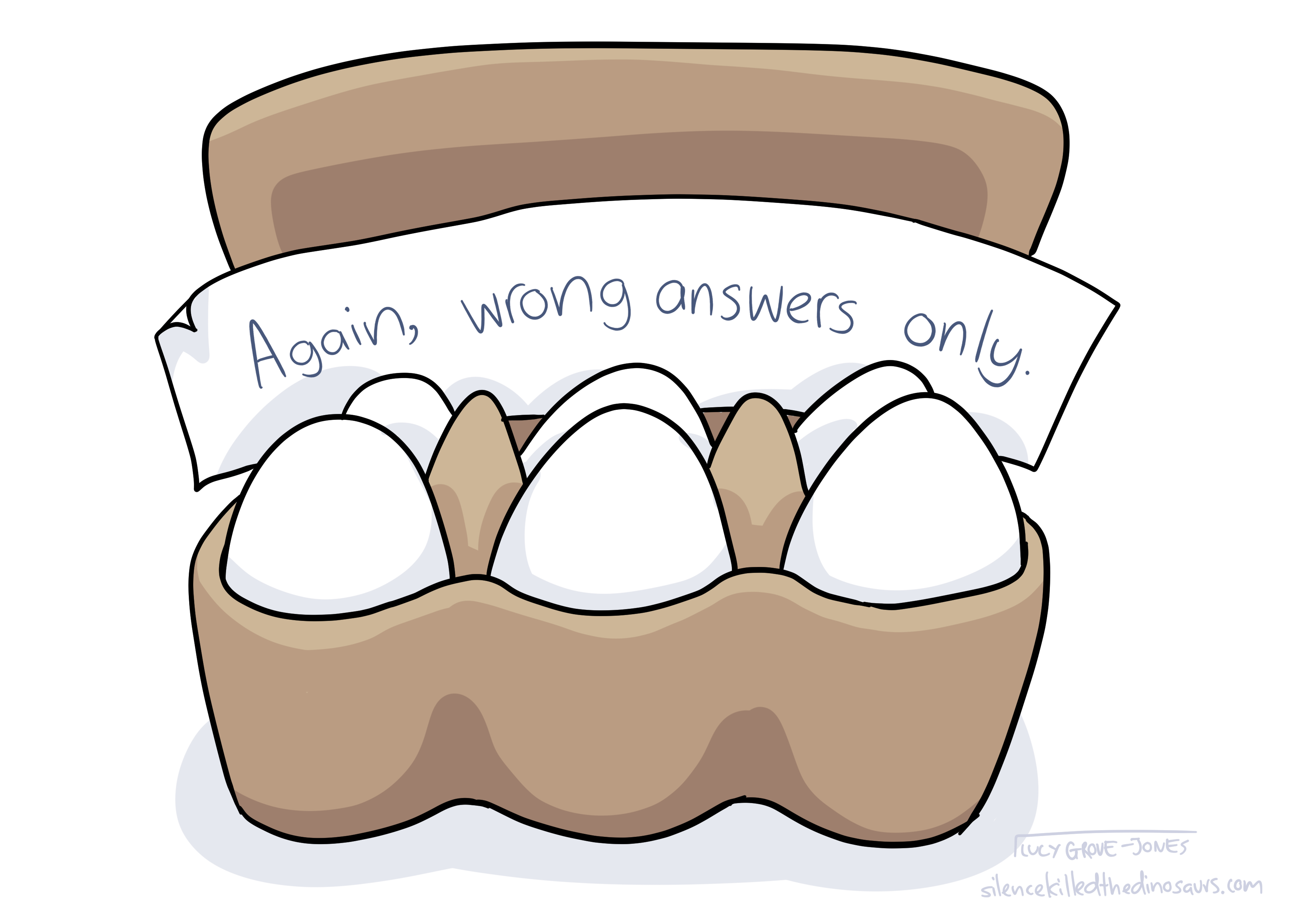 Egg cartoon containing a note which reads: 'Again, wrong answers only.'