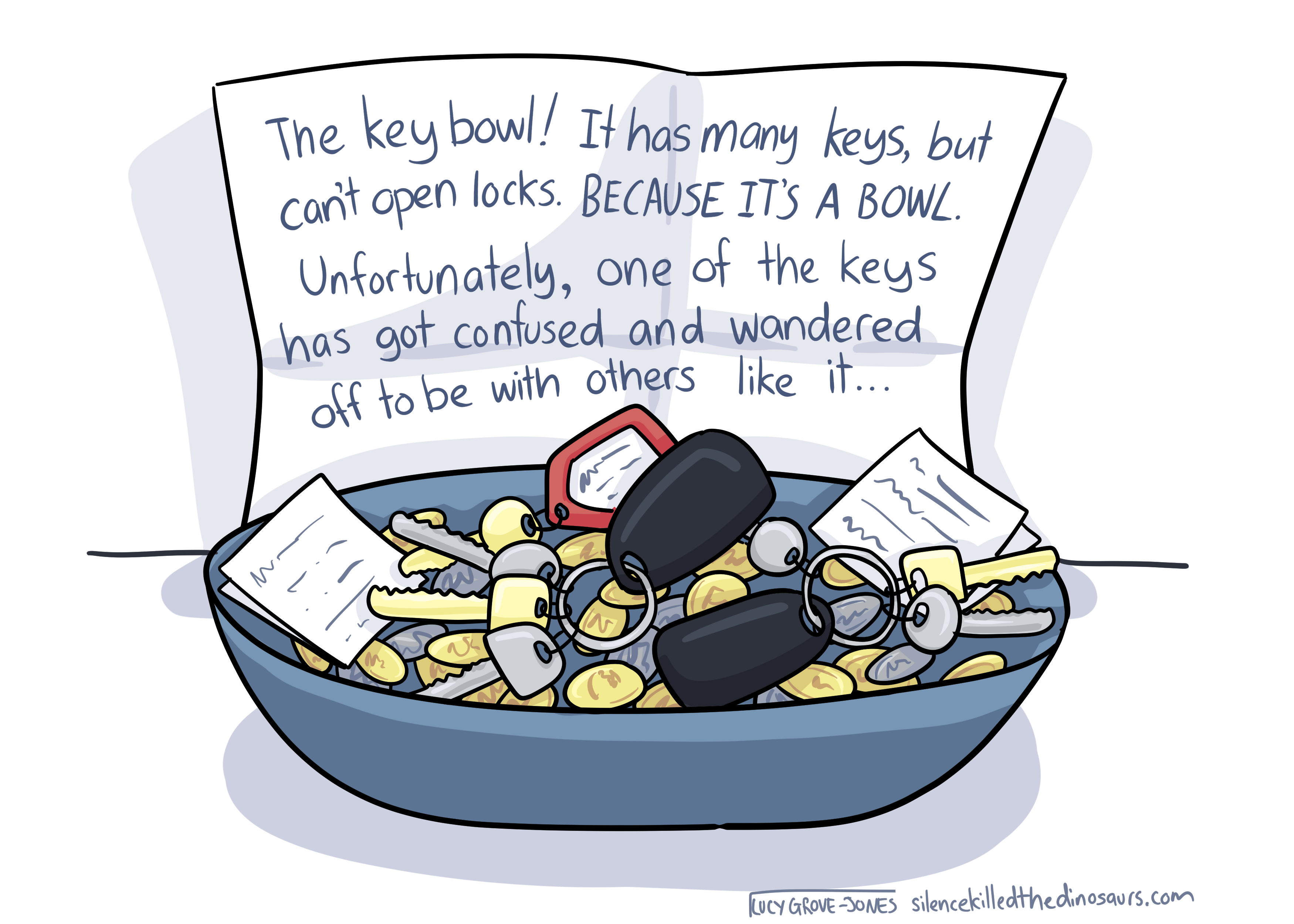 A bowl full of keys and other pocket odds and ends. There is a note that reads: 'The key bowl! It has many keys, but can't open locks. BECAUSE IT'S A BOWL. Unfortunately, one of the keys has got confused and wandered off to be with others like it...'
