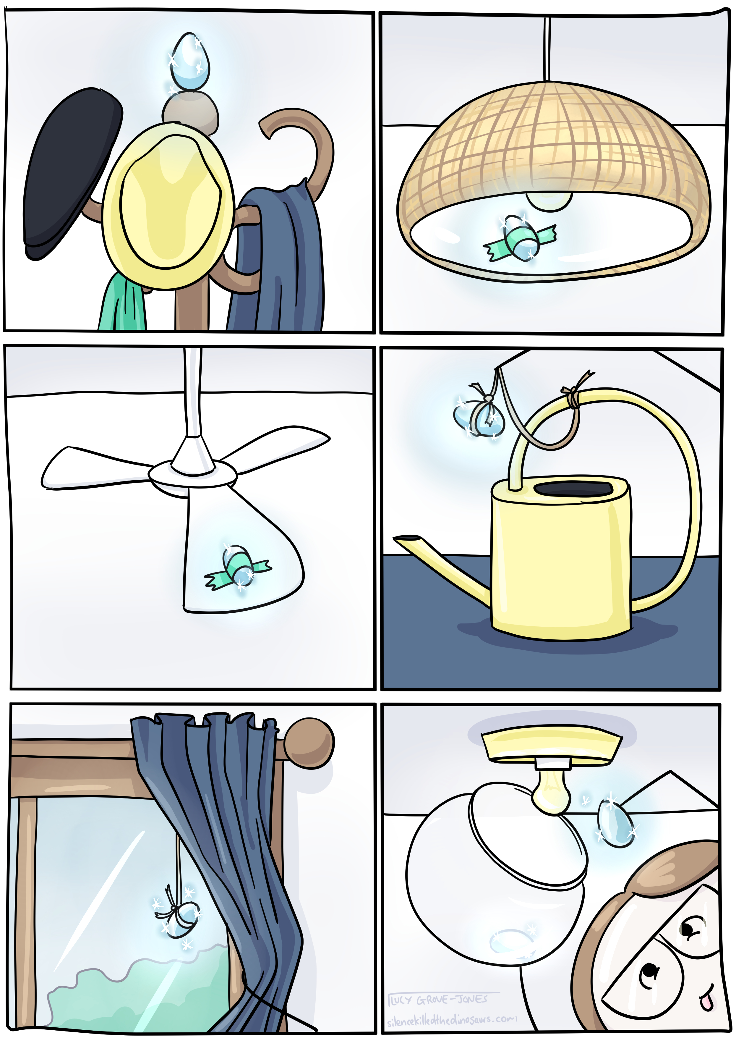 6 panels. Panel 1: an easter egg balances on top of a coat rack. Panel 2: an easter egg is tapped to the inside of a pendant light shade. Panel 3: an easter egg is taped to the top of a fan blade. Panel 4: an easter egg has been tied with twine so it hangs from the handle of a watering can into the body of the watering can. Panel 5: an easter egg has been tied with twine so that it hangs from a curtain rail between the window and the curtain. Panel 6: I have removed a bowl-light shade from the ceiling and am taking one easter egg out, another is still in the light fitting.