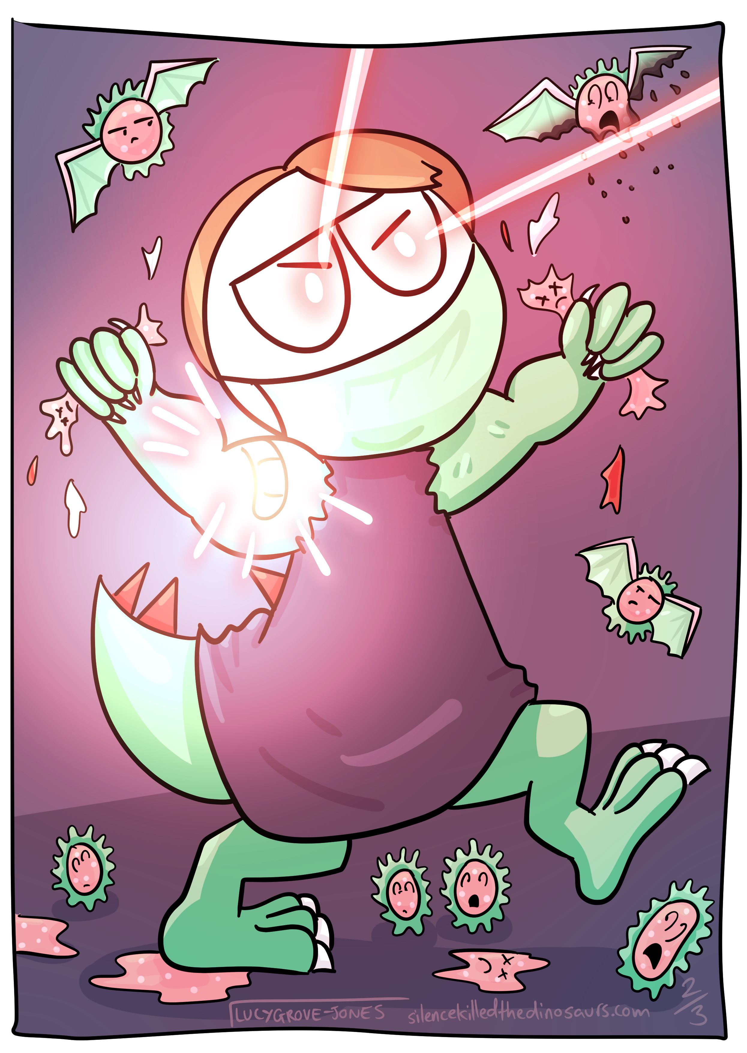 Full page comic. A Lucy-dinosaur mutant hybrid rampages through coronavirus cells. She stomps them and crushes them in her fists. She shoots down airborne virus cells with laser eyes. Her bandaid glow is at its most intense.